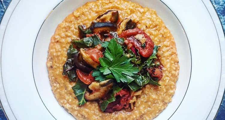 Savory Oatmeal Bowl with Stewed Tomatoes, Mushrooms and Rainbow Chard