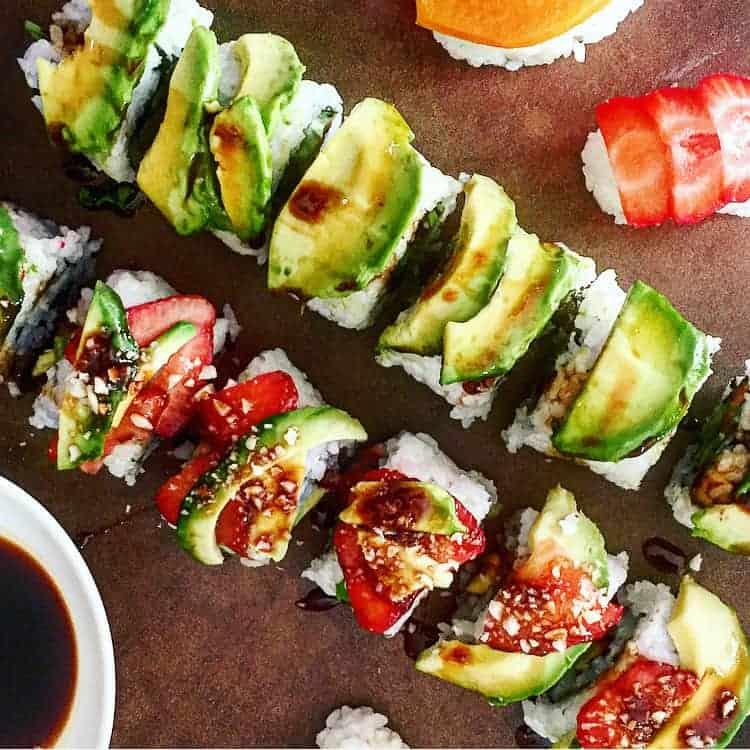 Sweet Potato Asparagus Basil Avocado Vegan Sushi Rolls