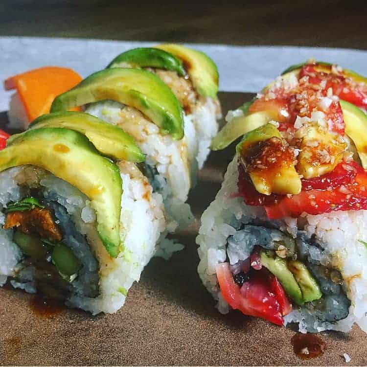 Avocado & Strawberry Vegan Sushi Rolls With Macademia Nut Crunch
