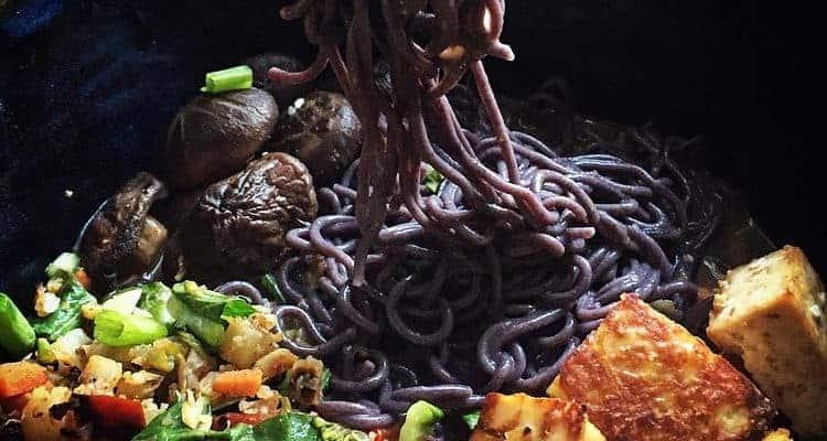 Mushroom Ramen with Black Rice Noodles and Spicy Peanut Tofu (Vegan)