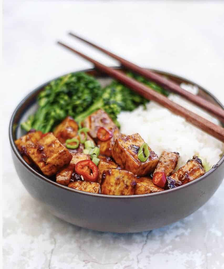 Vegan Chinese Food Spicy Asian Tofu Bowls by Herbivores Kitchen