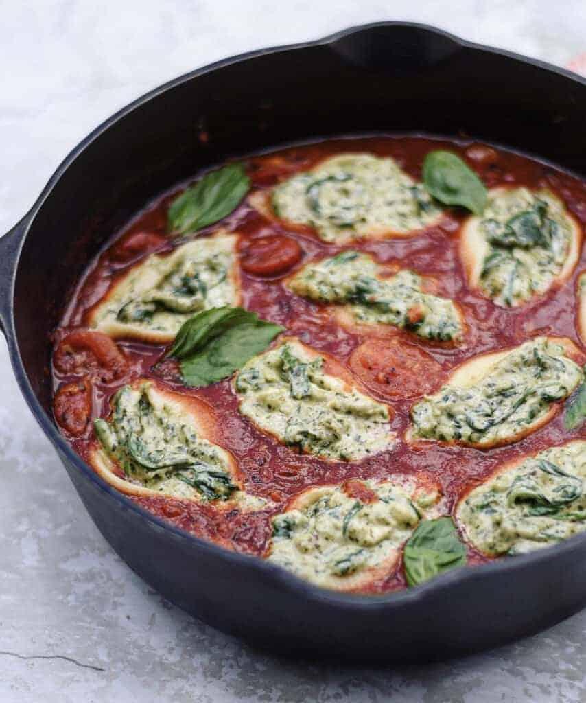 Vegan Pasta Recipe Stuff Shells with Basil Pesto
