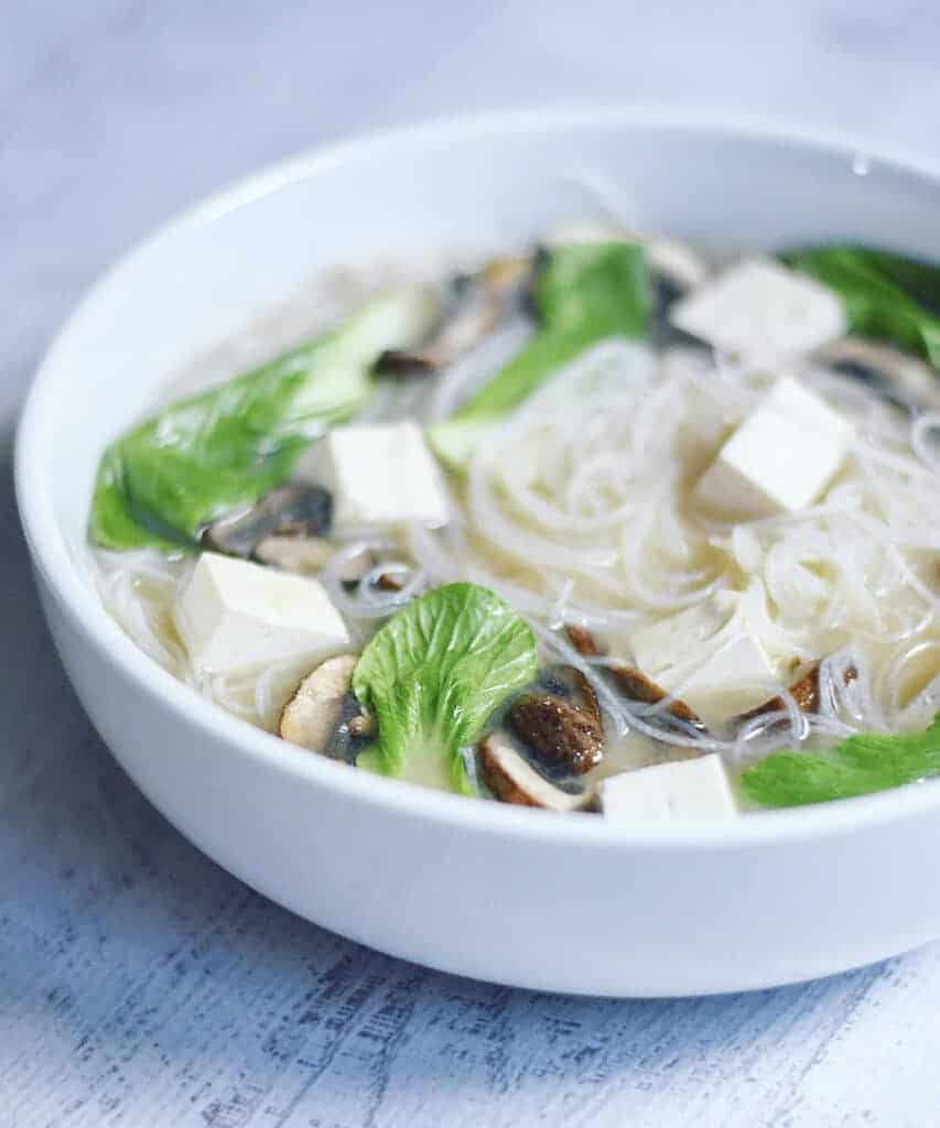 Vegan Miso Soup with Bok Choy and Rice Noodles by Herbivores Kitchen