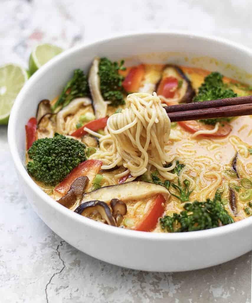 Vegan Soup Recipe: Thai Red Curry Ramen Noodle Bowls