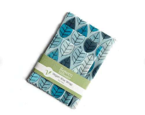 Vegan Wax Wrap in Blue Leaf, soy free, zero waste beeswax wrap alternative for vegans