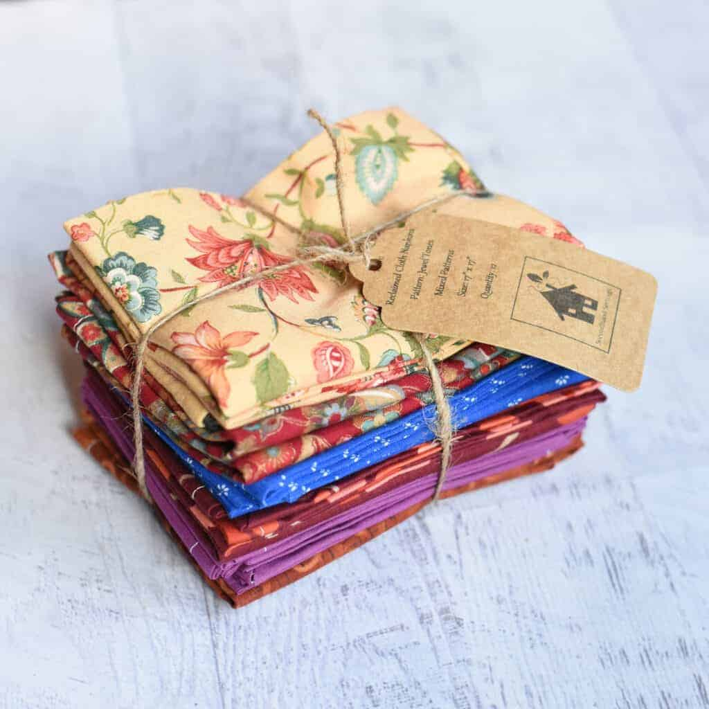 Reusable Cloth Napkins - Set of eight, Reclaimed textile zero waste napkins, environmentally friendly napkins