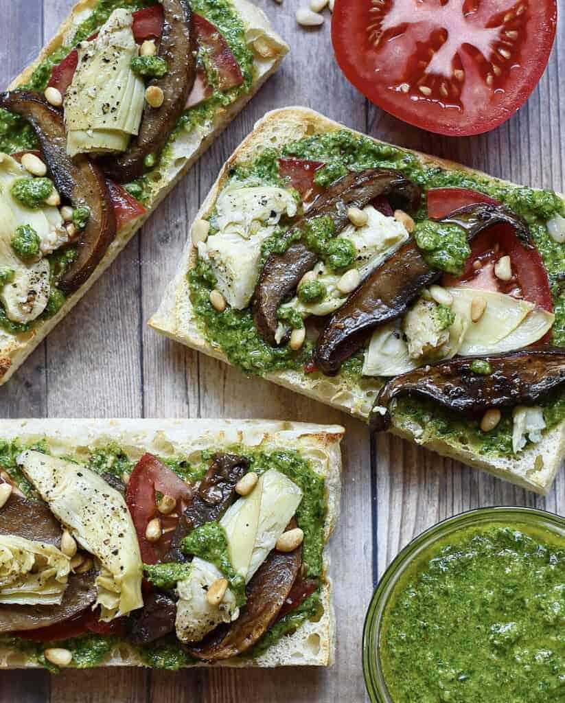 Roasted Portobello Mushrooms & Artichoke Vegan Sandwiches with Basil Pesto