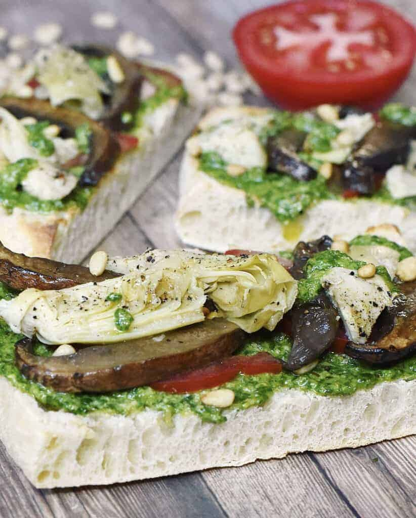 Roasted Portobello Mushrooms & Artichoke Vegan Sandwiches with Basil Pesto