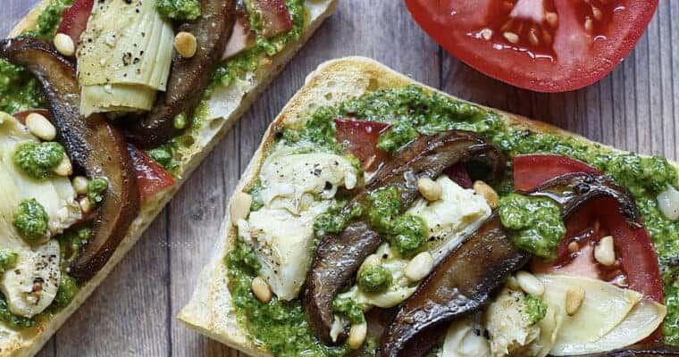 Roasted Portobello Mushroom and Artichoke Open-Faced Vegan Sandwiches