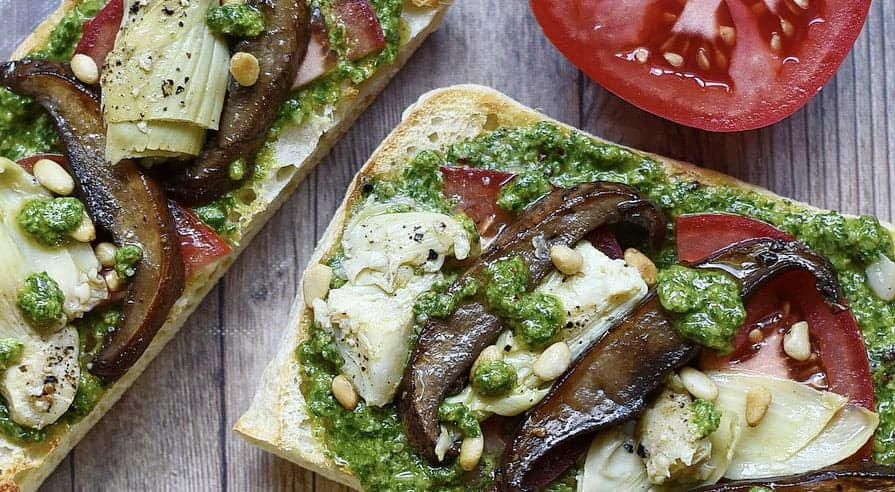 Roasted Portobello Mushroom and Artichoke Open-Faced Vegan Sandwiches