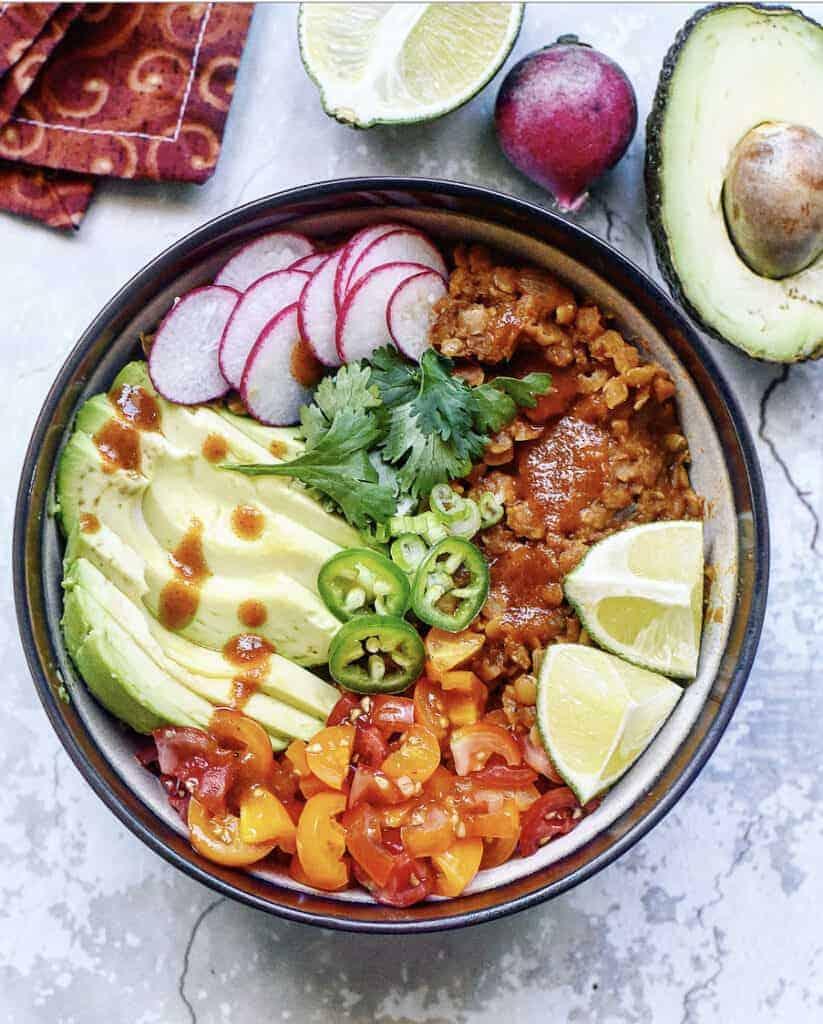 Spicy Red Lentil Vegan Burrito Bowl