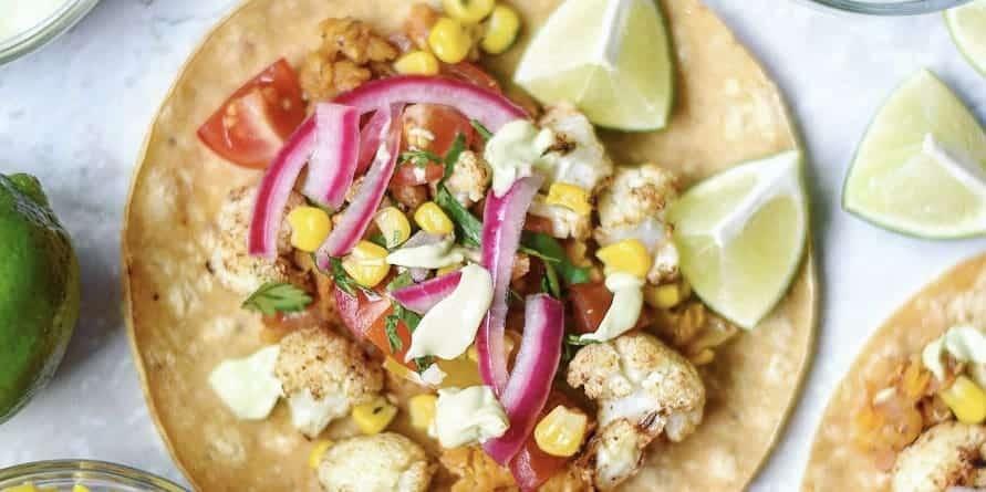 Spicy Red Lentil & Roasted Cauliflower Vegan Street Tacos