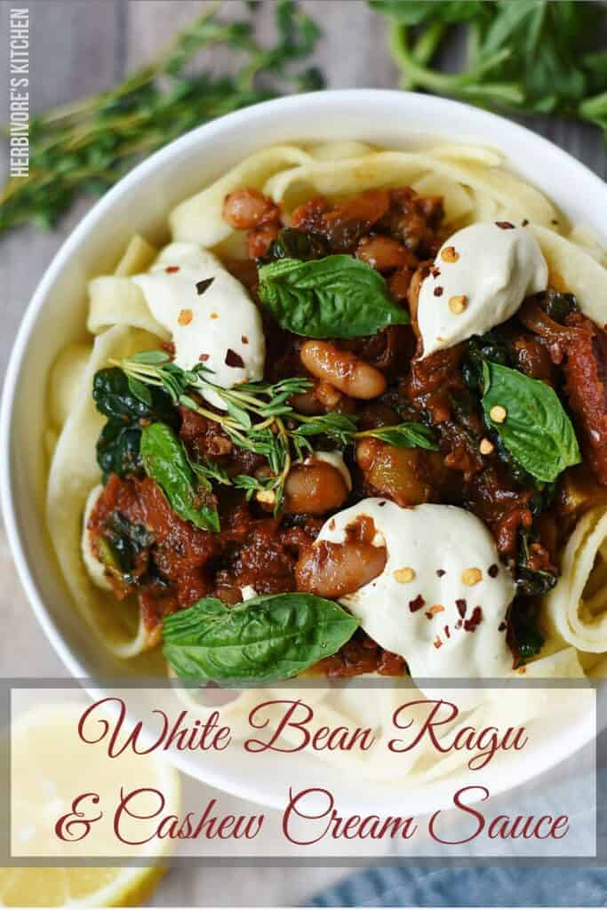 Pappardelle with Kale & White Bean Ragu and Cashew Cream Sauce