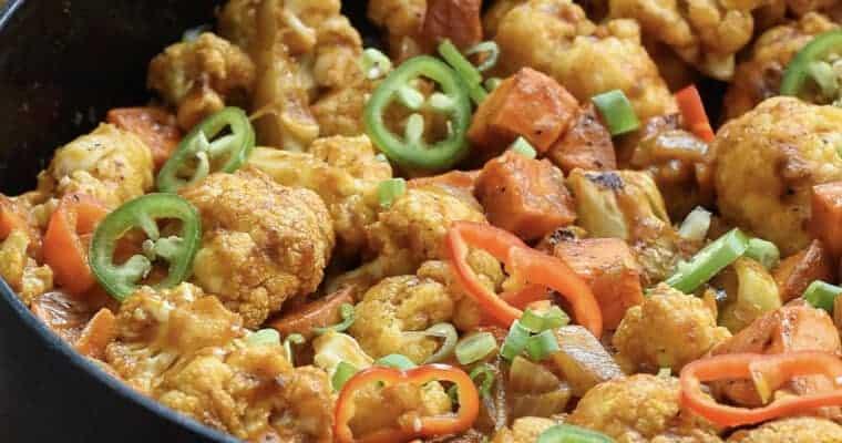 Easy Vegan Dinner: Sweet Potato and Roasted Cauliflower Vindaloo