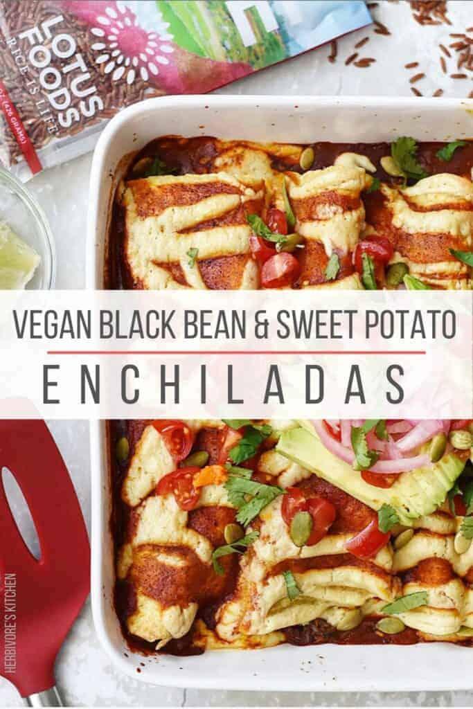 Black Bean & Sweet Potato Vegan Enchiladas with Cashew Cream Sauce