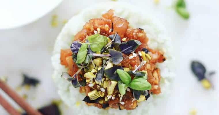 Vegan Sushi: Tuna Tower with Avocado