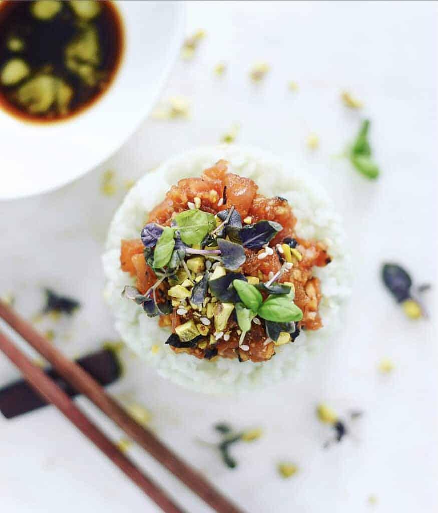 Vegan Sushi Recipe Tuna Tower with Avocado