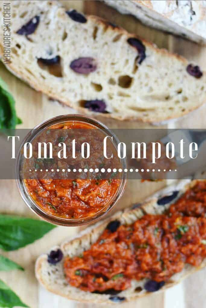 Roasted Tomato Compote with Fresh Basil and Olive Bread from Sourdough Starter