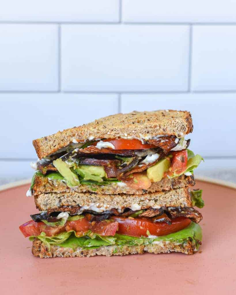 Vegan Mushroom Bacon BLT Sandwich
