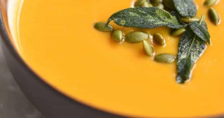 Apple Butternut Squash Soup with Crispy Sage