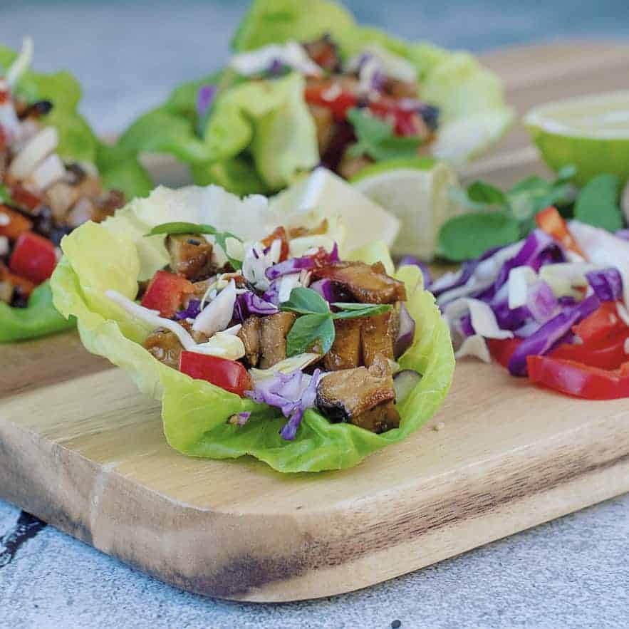 Vegan Lettuce Wraps with Asian Dipping Sauce