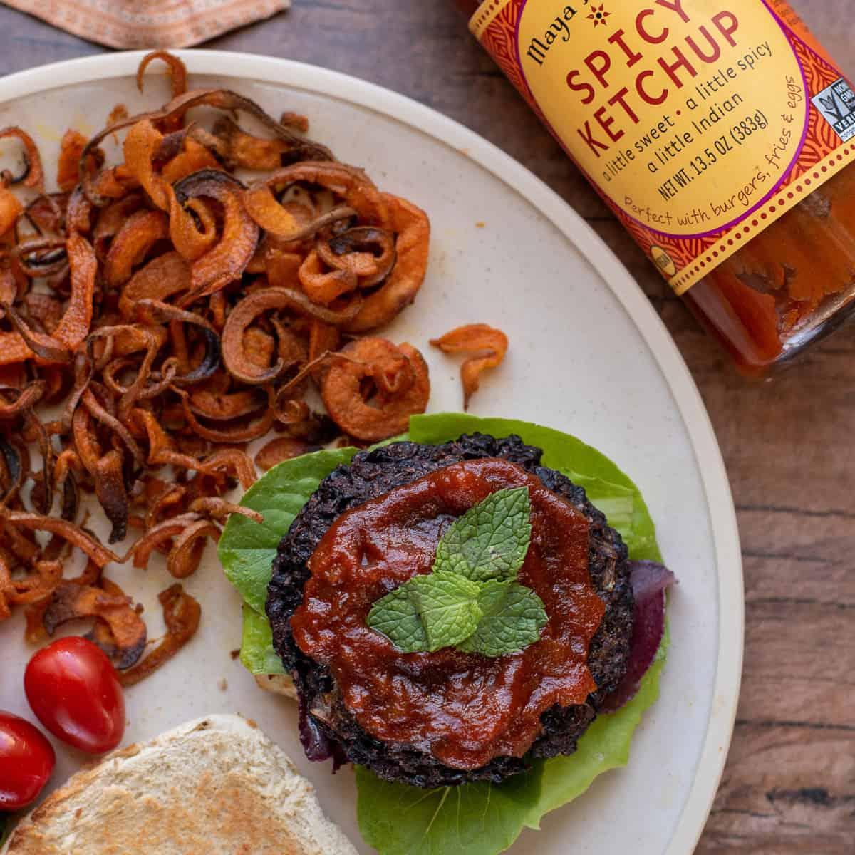 Black Lentil Veggie Burger Recipe with Baked Sweet Potato Fries