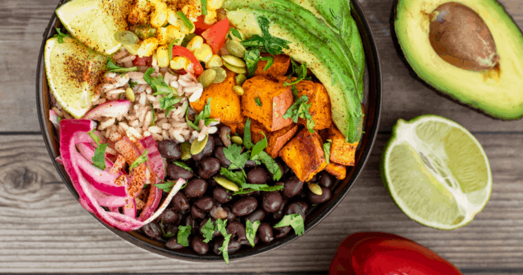 Vegan Burrito Bowl with Crispy Roasted Sweet Potatoes