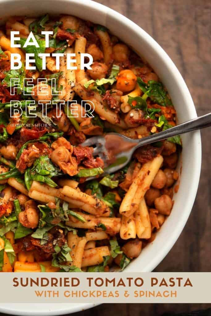 Chickpea, Spinach & Sundried Tomato Pasta Vegan Style Vegan Pasta with an Easy Sundried Tomato Sauce for Busy Weeknights