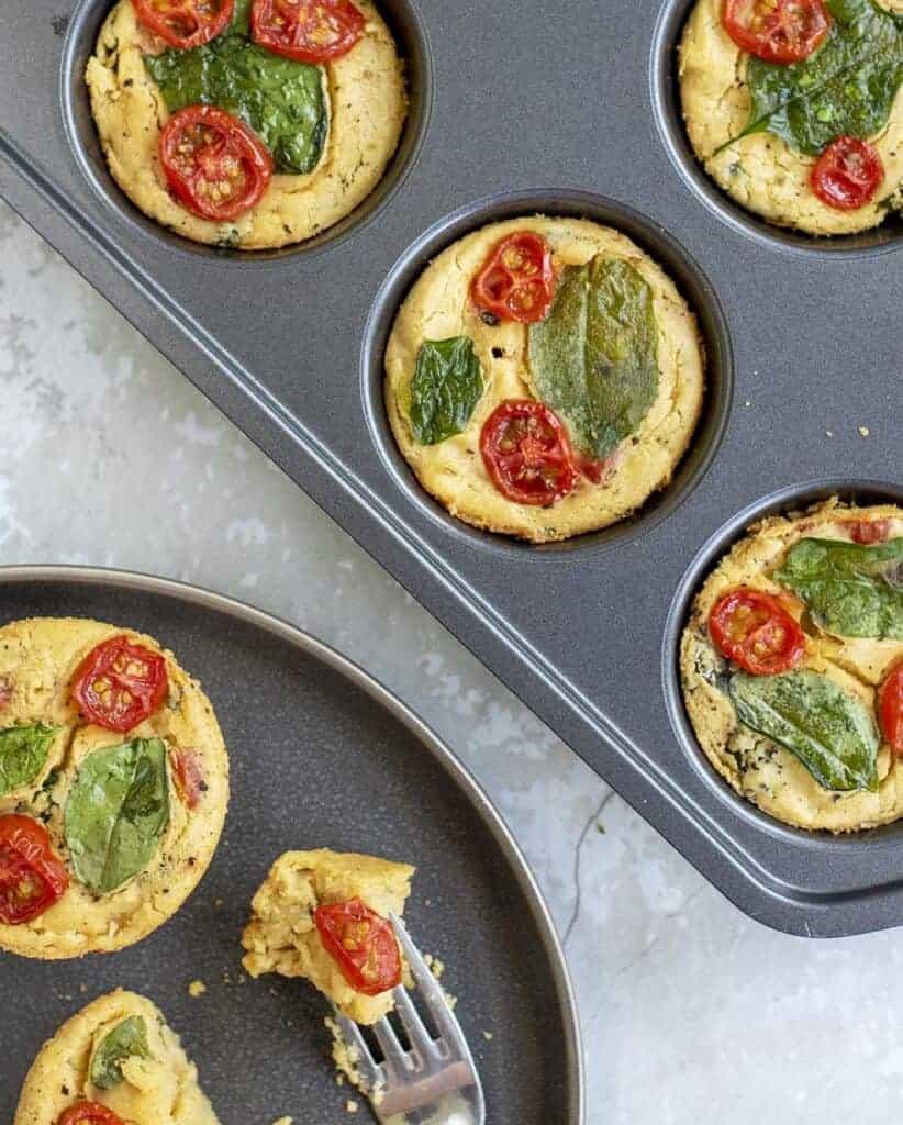 Vegan Brunch Ideas: Spinach & Tomato Mini Quiches